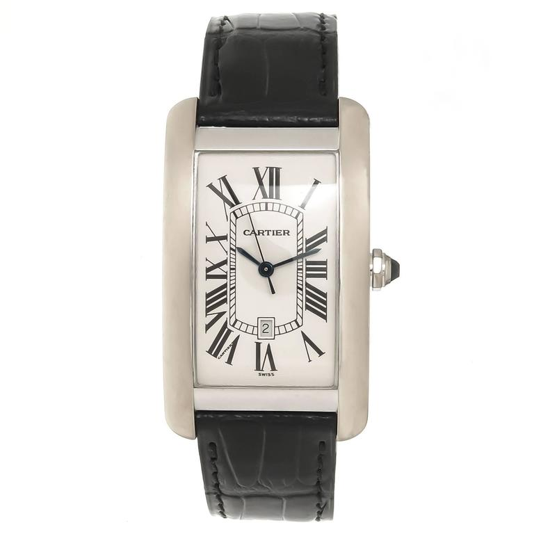Cartier Large White Gold Automatic Tank American Wrist watch