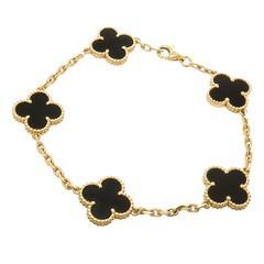 Van Cleef & Arpels Alhambra Onyx Gold Bracelet