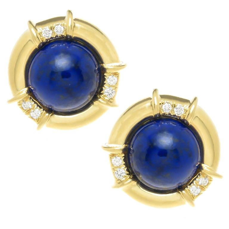 Lapis Lazuli Diamond Gold Earclips For