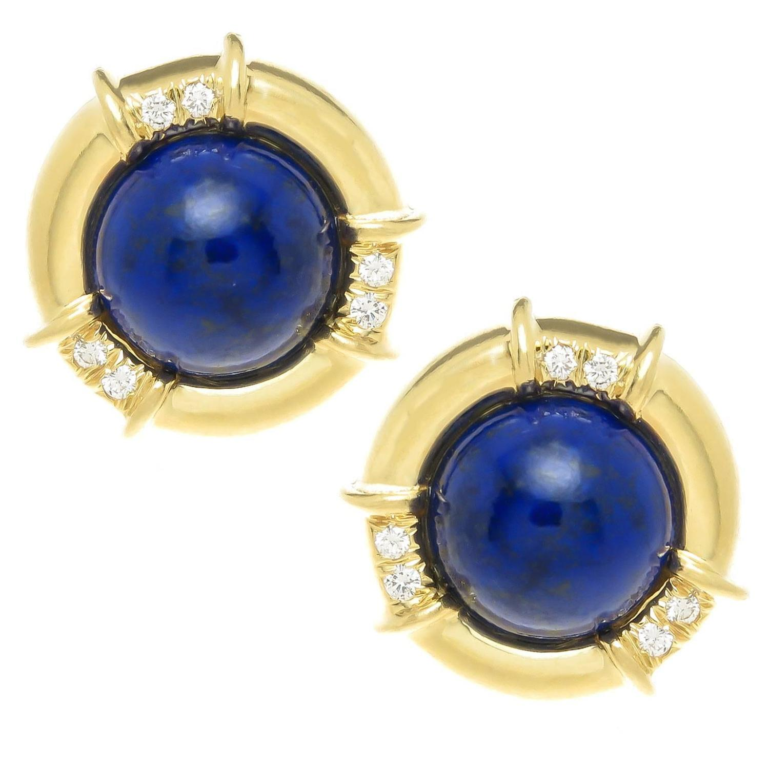 com trustmark lazuli dp ball yellow blue stud lapis earrings amazon gold natural post