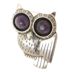 William Spratling Silver and Amethyst Owl Pin