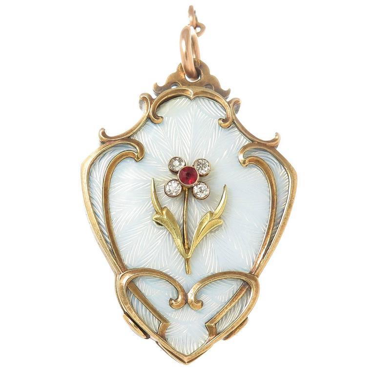 Antique Russian Gem set White Enamel Gold  Large Locket