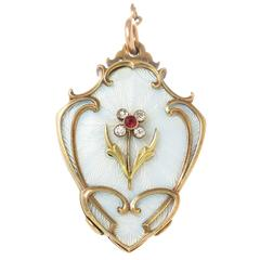Antique Russian Gem set White Enamel Gold  Large Locket