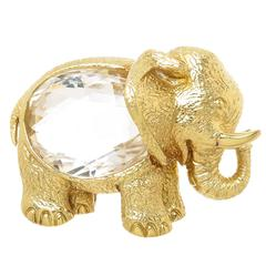Magnificent David Webb Rock Crystal Gold Elephant Brooch