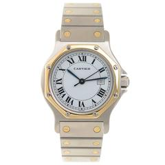 Cartier Stainless Steel Yellow Gold Santos Mid Size Automatic Wristwatch