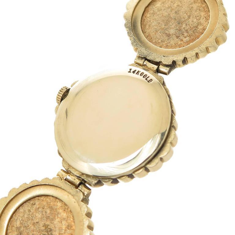 Women's or Men's Omega Yellow Gold Opal Bracelet Manual Wind Wristwatch, 1980 For Sale