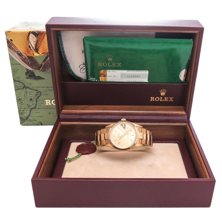 Rolex Yellow Gold Date automatic self winding Water Proof Oyster Wristwatch  4