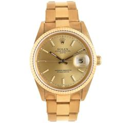 Rolex Yellow Gold Date automatic self winding Water Proof Oyster Wristwatch