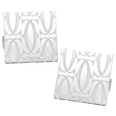 Cartier CC Logo Silver Cufflinks
