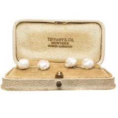 Tiffany & Co Gold and Natural Pearl Art Nouveau Cufflinks