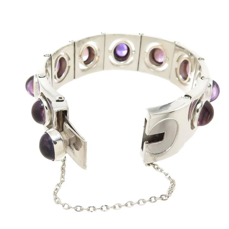 Antonio Pineda Silver And Amethyst Bracelet 1960 For Sale