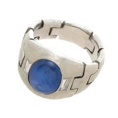Art Deco Platinum Diamond and Sapphire Flexible Linked Ring