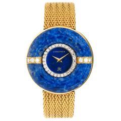 Longines Ladies Yellow Gold Diamond Lapis Manual Wind Wristwatch