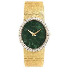Piaget Ladies Yellow Gold Diamond Jadeite Dial Manual Wind Wristwatch