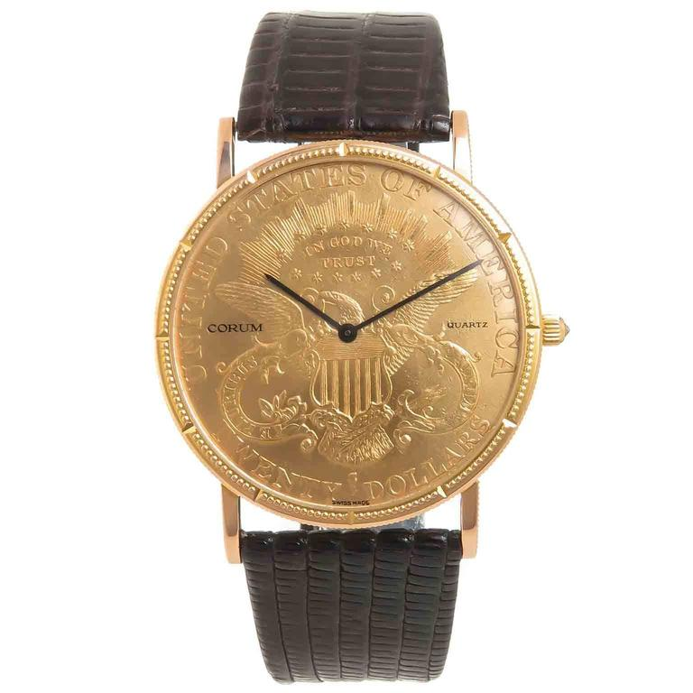 1281c547325e9 Corum 1903  20 Gold Coin Double Sided Quartz Wrist Watch at 1stdibs