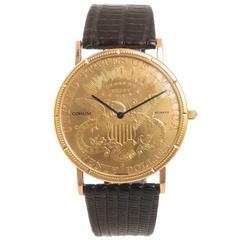 Corum 1903 $20 Gold Coin Double Sided Quartz Wrist Watch