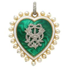 Cartier Paris Belle Époque Gold Platinum Diamond Enamel Pearl Heart Pendant
