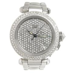 Cartier Pasha Steel and Diamond Pave Automatic Wristwatch