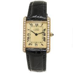 Cartier Classic Vermeil Tank with Diamond Set Case Quartz Watch