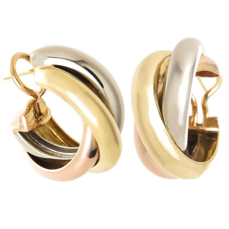 Cartier Trinity Tricolor Gold Earrings For