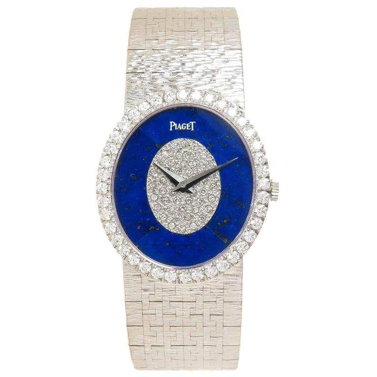 Piaget White Gold Lapis and Diamond Mechanical Ladies Wristwatch 1