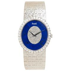 Piaget White Gold Lapis and Diamond Mechanical Ladies Wristwatch