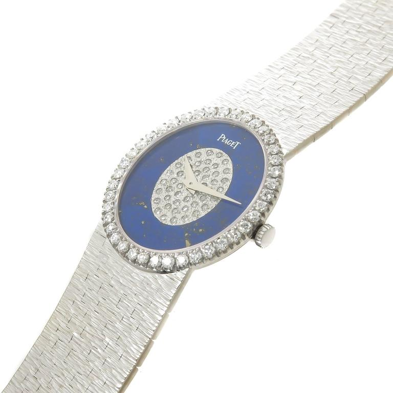 Piaget White Gold Lapis and Diamond Mechanical Ladies Wristwatch 2