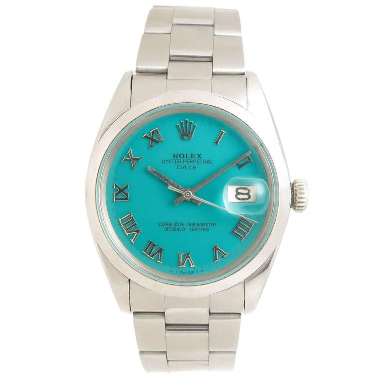 Rolex Steel Model 1500 Gents Automatic Wristwatch Custom Dial For Sale