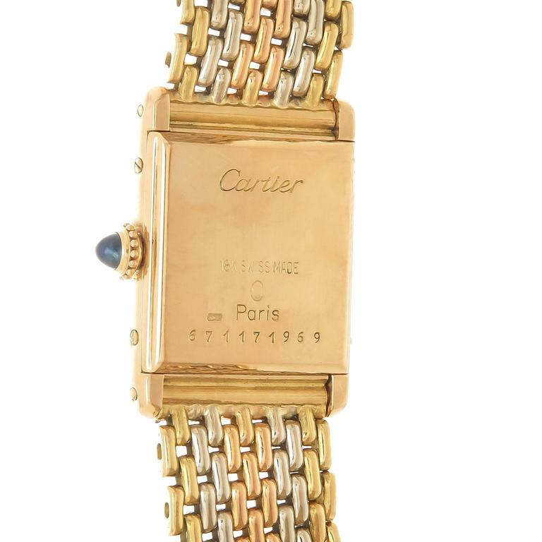 Cartier Gold Ladies Tank Mechanical Watch on Tri Color Gold Bracelet In Excellent Condition For Sale In Chicago, IL