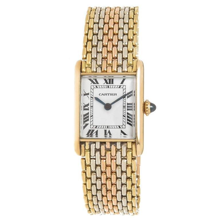 Cartier Gold Ladies Tank Mechanical Watch on Tri Color Gold Bracelet For Sale