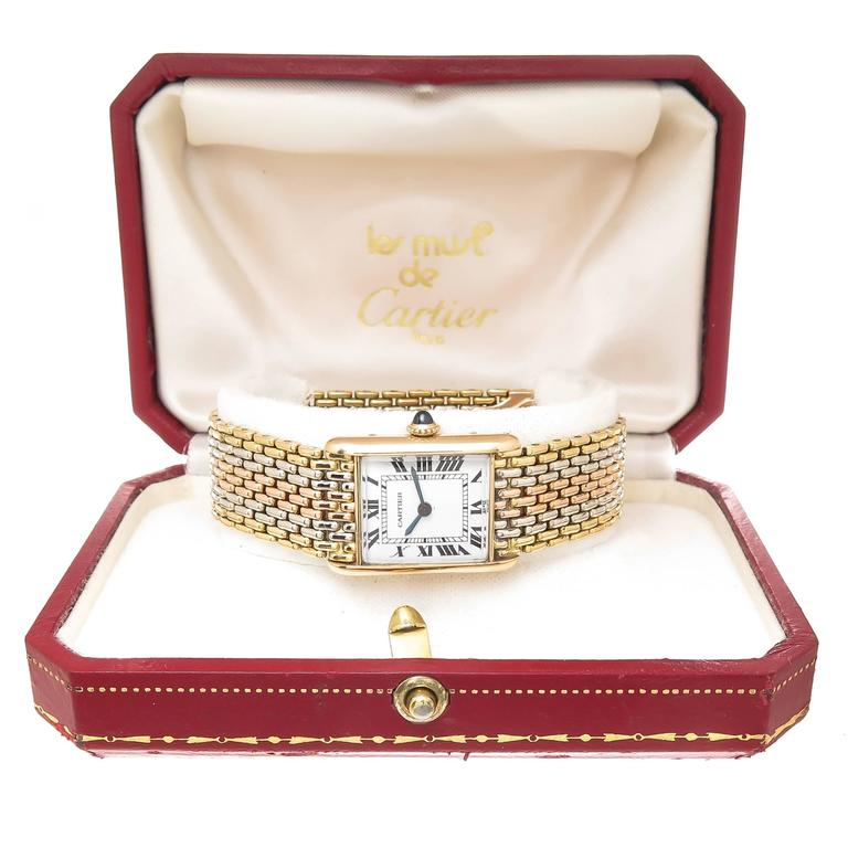 Women's Cartier Gold Ladies Tank Mechanical Watch on Tri Color Gold Bracelet For Sale