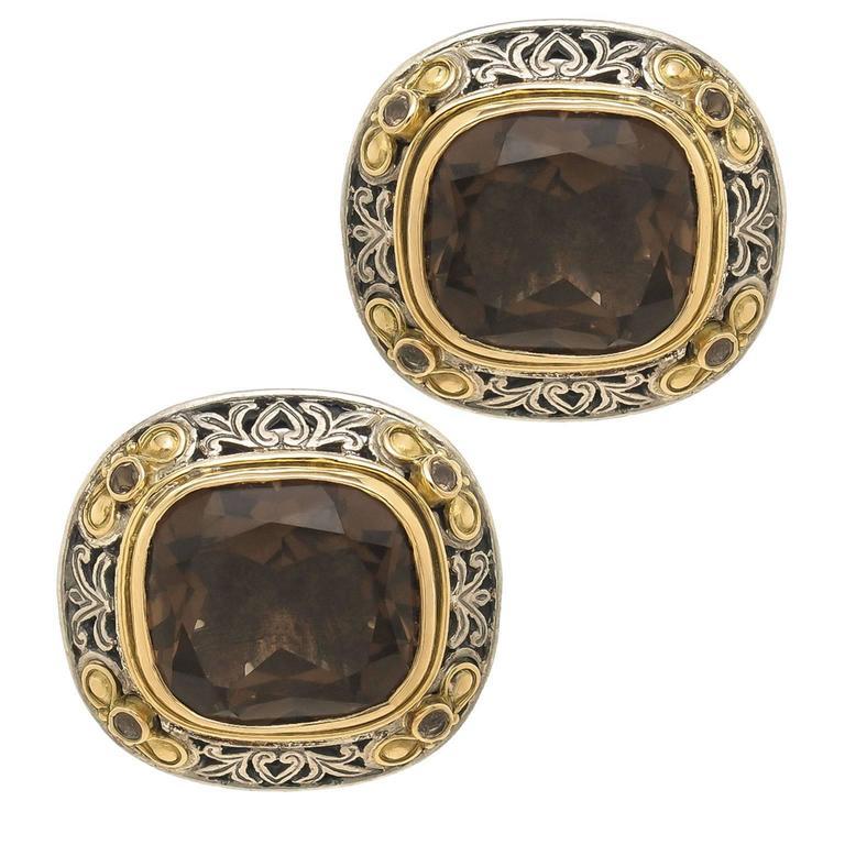 Konstantino Smokey Quartz Silver Gold Cufflinks For Sale