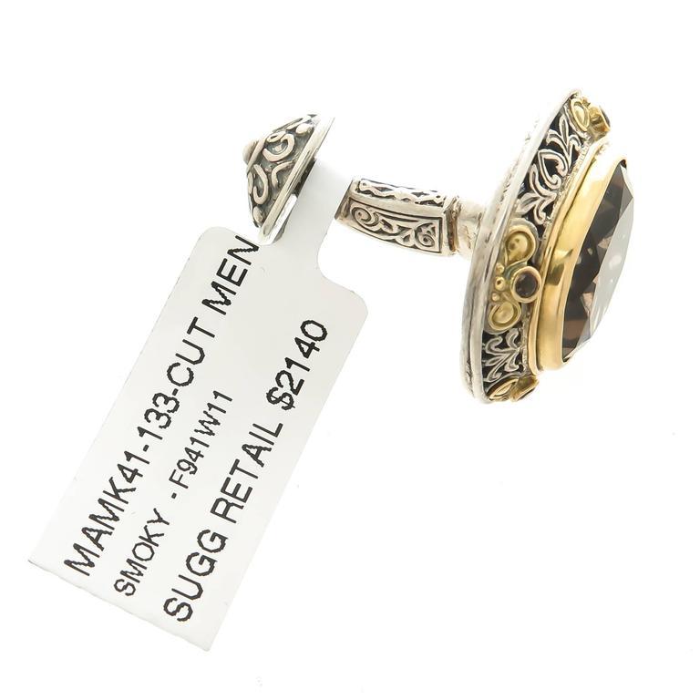 Women's or Men's Konstantino Smokey Quartz Silver Gold Cufflinks For Sale