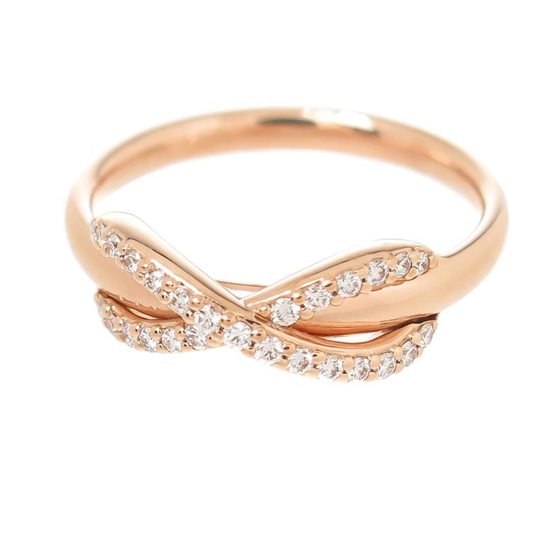 Tiffany and Co. Infinity Collection Diamond Rose Gold Ring at 1stdibs