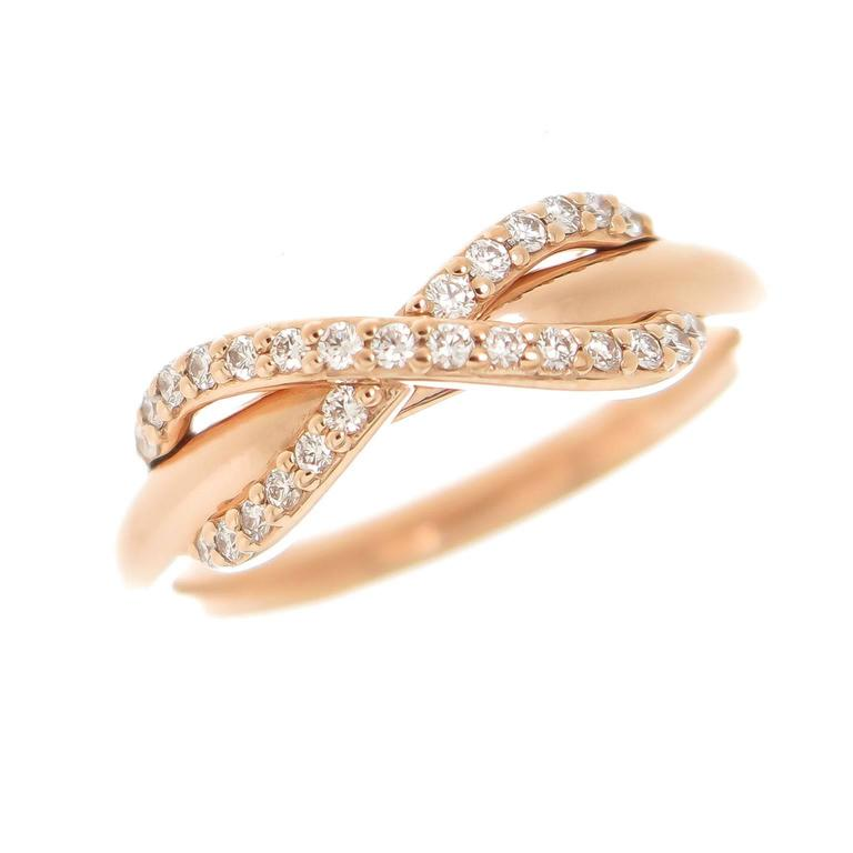 Tiffany and Co Infinity Collection Diamond Rose Gold Ring at 1stdibs