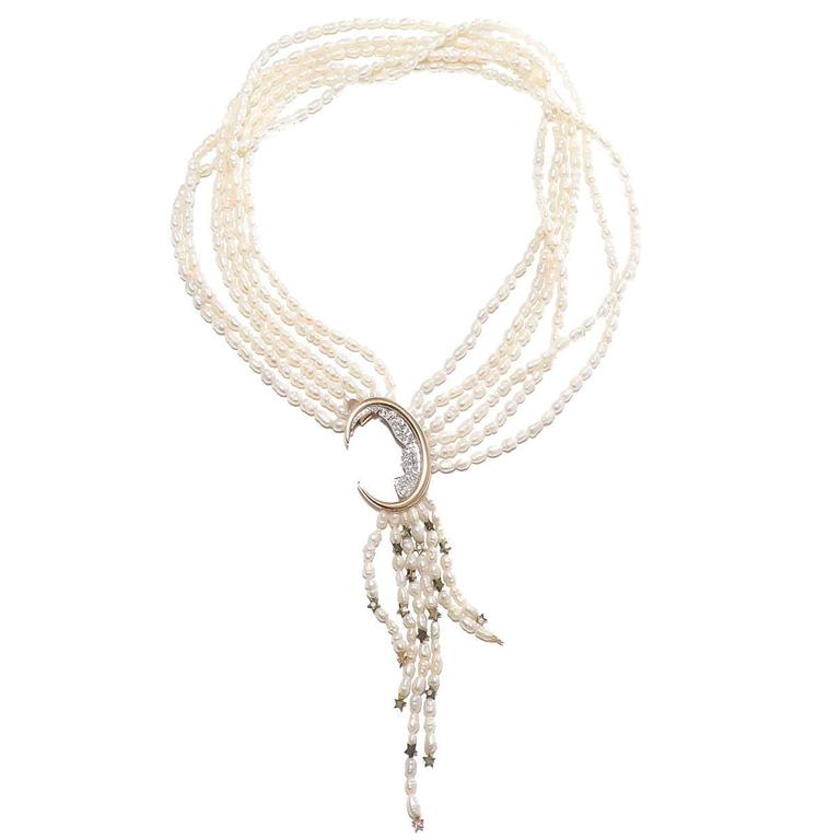 Erte Nocturne Pearl Diamond Gold Necklace