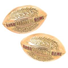 Rose Bowl Yellow Gold Presentation Football Shape Cufflinks, 1960