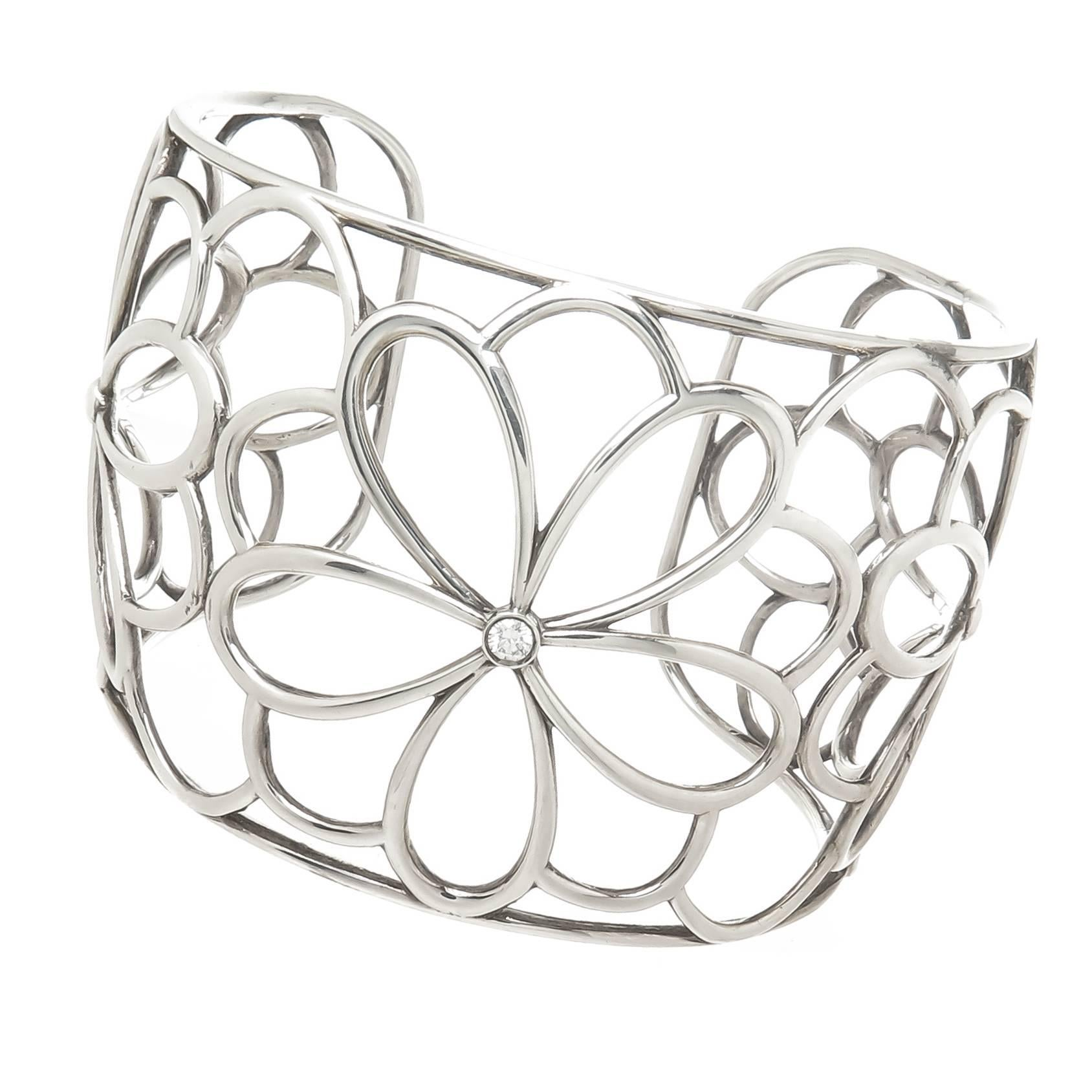 cc12c87c0 Tiffany and Co. Silver and Diamond Garden Cuff Bracelet at 1stdibs