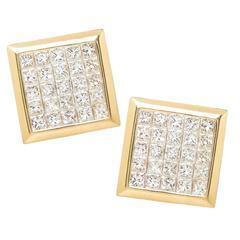 Invisible Set Princess Cut Diamond Gold Cufflinks