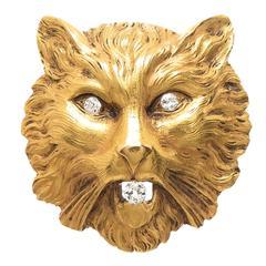 Large Diamond Yellow Gold Cat Brooch, 1910