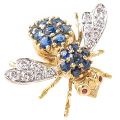 Herbert Rosenthal Large Yellow Gold and Gem Set Bee Brooch