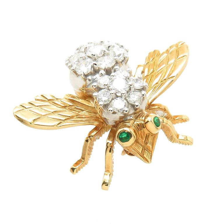 Herbert Rosenthal Large Gold and Diamond Large Bee Brooch 2