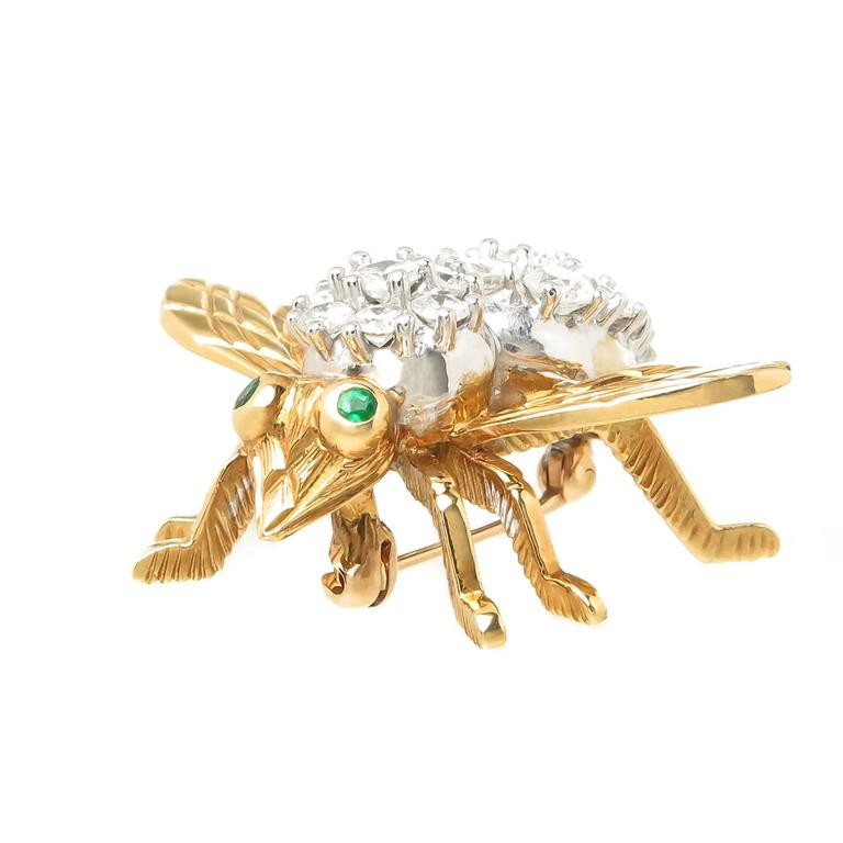 Herbert Rosenthal Large Gold and Diamond Large Bee Brooch 3
