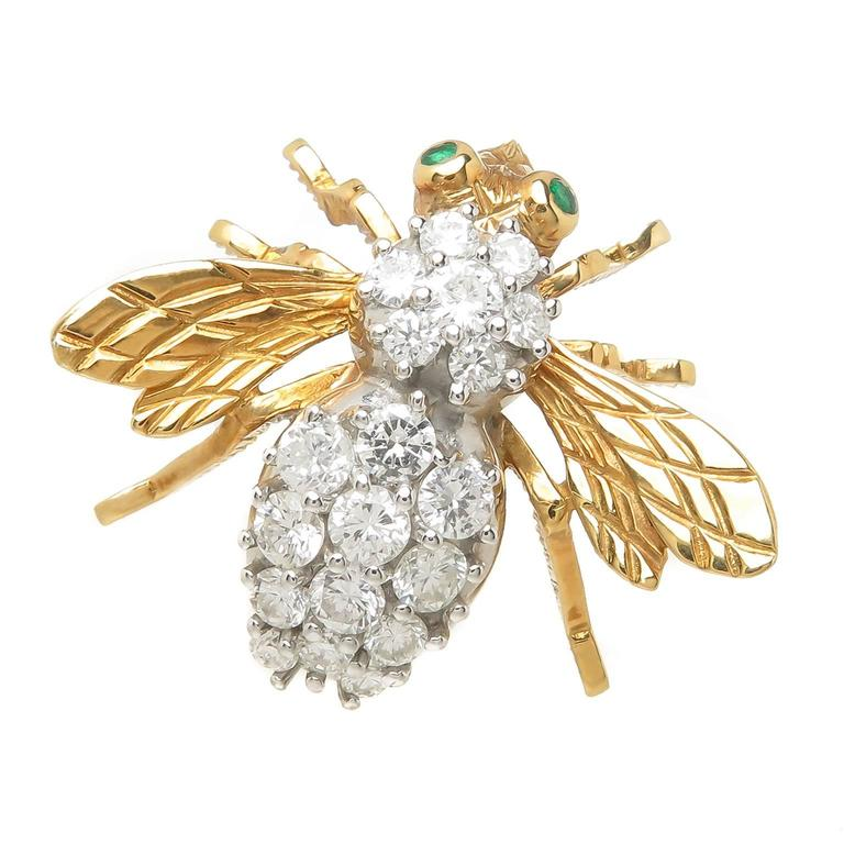 Herbert Rosenthal Large Gold and Diamond Large Bee Brooch 1