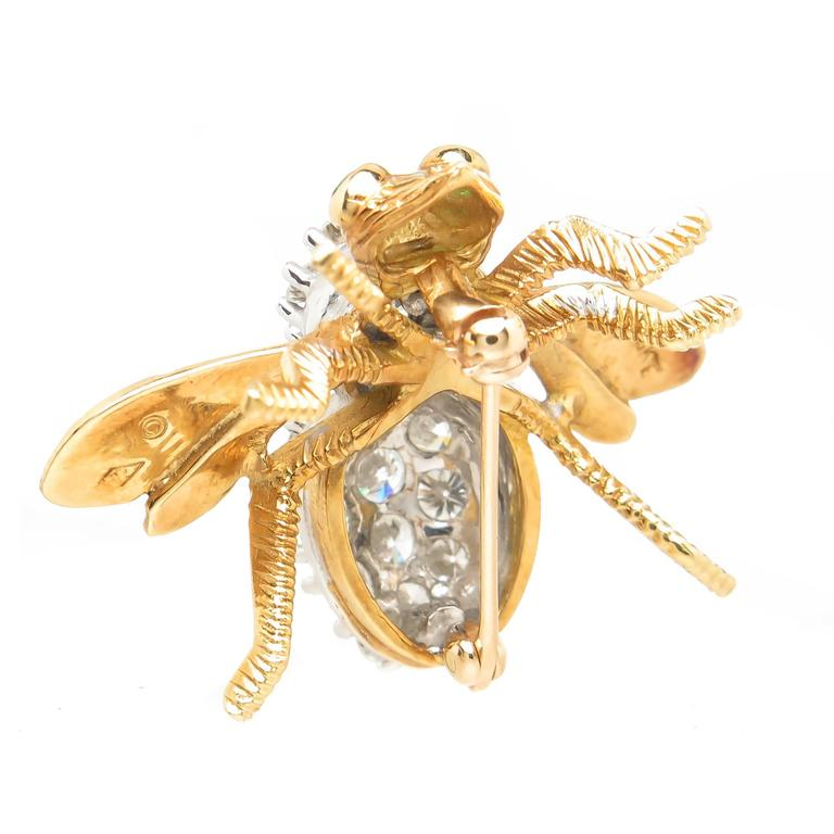 Herbert Rosenthal Large Gold and Diamond Large Bee Brooch 4
