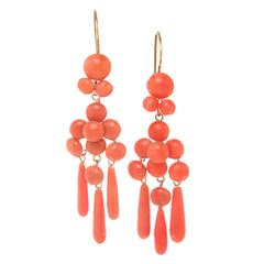 Victorian Coral and Gold Dangle Earrings