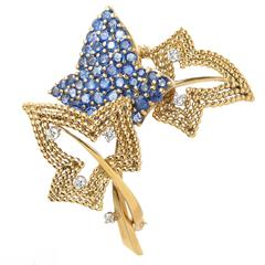 1950s Tiffany & Co. Yellow Gold Diamond Sapphire Leaves Clip Brooch