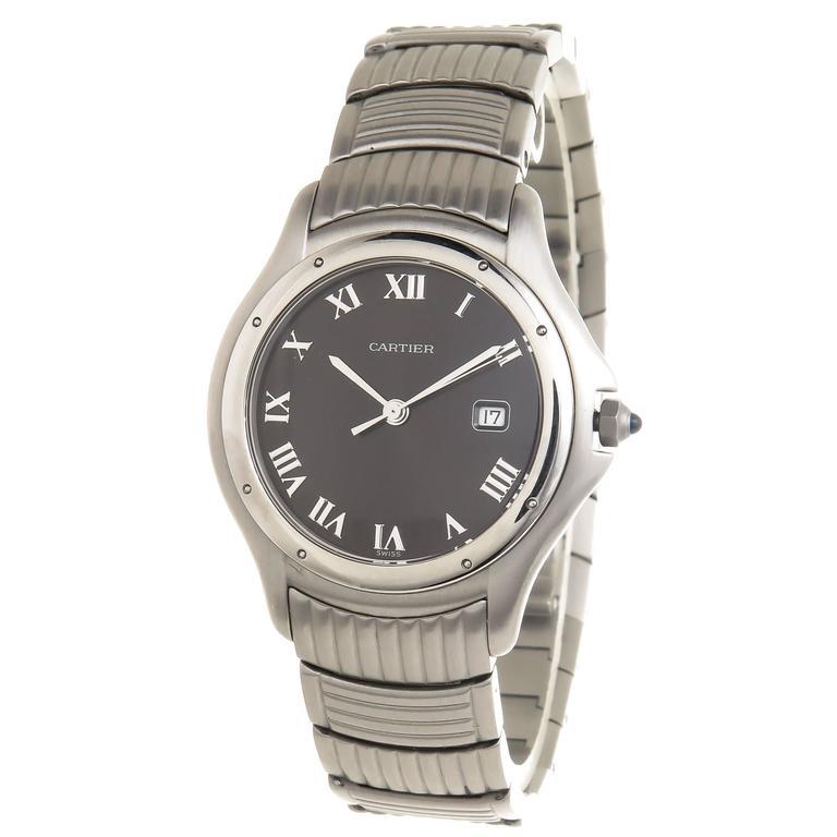 Cartier Stainless Steel Cougar Calendar Quartz Wristwatch