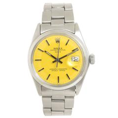 Rolex Stainless Steel Date Custom Color Dial Wristwatch, circa 1968