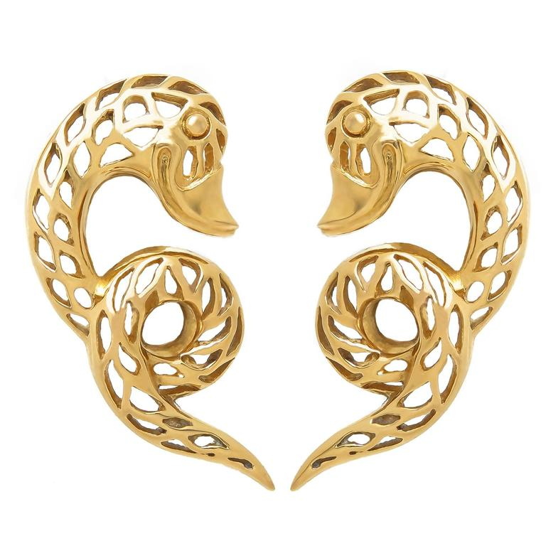 Lalaounis Serpent Yellow Gold Earrings